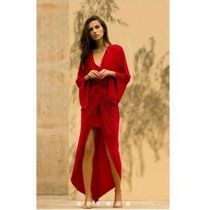 MISA Los Angeles Teget Knit Knot Front Drape Dress